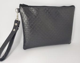 Vegan Leather Wristlet for Women, Textured Black Faux Leather, Vegan Leather Handmade Handbag Shop