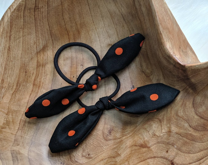 Pair of Hair Ties - Multi Color Retro Bow Hair Ties - Black and Orange Fabric - Gift for Her - Best Friend Gifts - Uxbridge School Colors