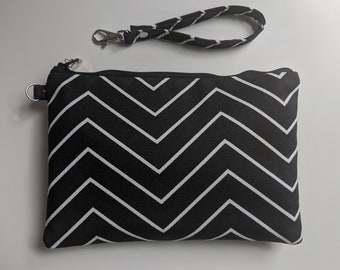 Black and White Chevron Print Fabric Wristlet - Wristlet Wallet - Women's Accessories - Boutique Gifts - Gift for Her