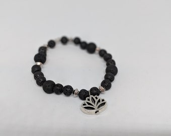 Black Lava Stone Stretch Bracelet with Silver Lotus Charm - Grounding Beads - Gift for Women - Gift for Her - Fashion Jewelry- Jewelry Gifts