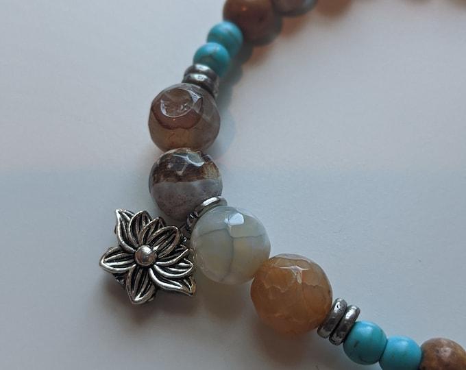 Lotus Flower Charm on a Jasper and Turquoise Beaded Stretch Bracelet - Yogi Jewelry - Zen Jewelry - Gift for Her