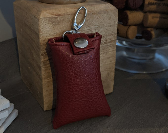 Key Chain Card Case - Cranberry Faux Leather - Key Chain Accessory - Credit Card Case - Handmade Accessory - Gray/Beige Faux Leather