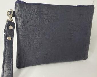 Vegan Leather Wristlet for Women, Navy Blue Faux Leather, Vegan Leather Handmade Handbag Shop