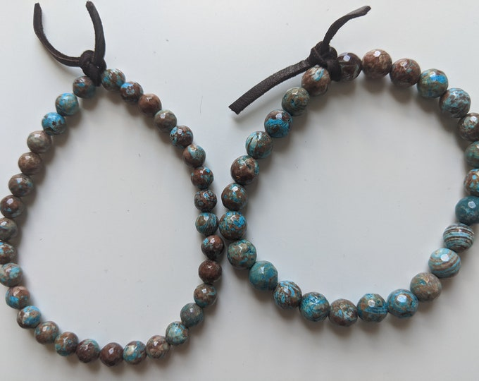 Blue Calsilica Jasper Beaded Bracelet with Dark Brown Leather Tie - 6mm Bead - Gift for Men - Men's Jewelry - Zen Jewelry