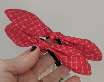 Valentine's Day PAIR of Hair Ties - Red and Pink Fabric Bows - Gift for Girl - Valentine's Day Gift