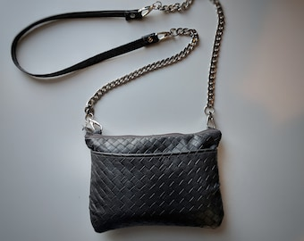 Crossbody Bag with Gray Textured Faux Leather- Crossbody Bag with Lots of Pockets - Silver Metal Chain Handle - Great Gift for Women