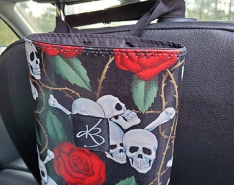 Small Car Caddy, Skull and Rose Print Laminated Cotton Fabric, Car Organizer, Travel Car Accessories for Women