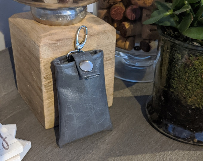 Key Chain Card Case - Key Chain Accessory - Credit Card Case - Handmade Accessory - Backpack Accessory - Light Gray Faux Leather