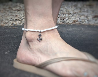 White Beaded Stretch Anklet with Anchor Charm - Summer Jewelry - Nautical Jewelry - Gift for Her