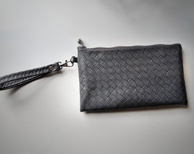 Graphite Gray Textured Faux Leather Wristlet - Handbag - Gift for Women - Birthday Gift