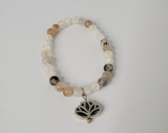 Jasper Bead Stretch Bracelet with a Silver Lotus Flower Bead - Brown Toned Jasper Stone -  Birthday Present -  Fashion Bracelet Jewelry