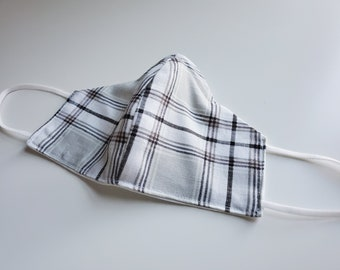 Large Classic Reusable Face Mask,  White and Gray Plaid Print Cotton Fabric, Washable Fabric, Children and Adult Masks
