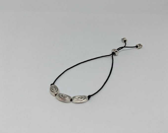 Bracelet- Black Cord Adjustable with Silver Beads - Handmade - Accessory - Jewelry - Gift for Women - Gift for Girls- Jewelry Gift