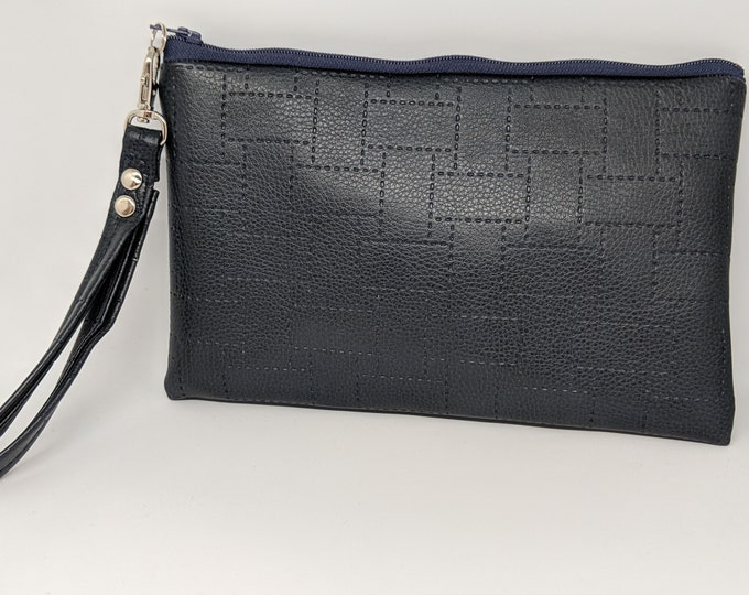 Wristlet mad with Textured Navy Blue Faux Leather - Great Gift For Women or Wife or Friend - Birthday Gift Idea#valentinesday