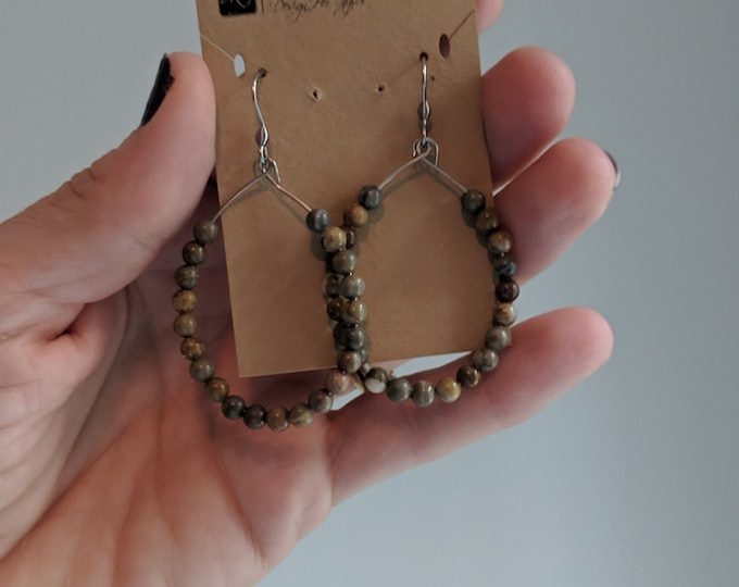 Jasper Bead Hoop Earrings - Dangle Earrings for Women - Jasper Bead Jewelry - Gift for Her - Birthday Present