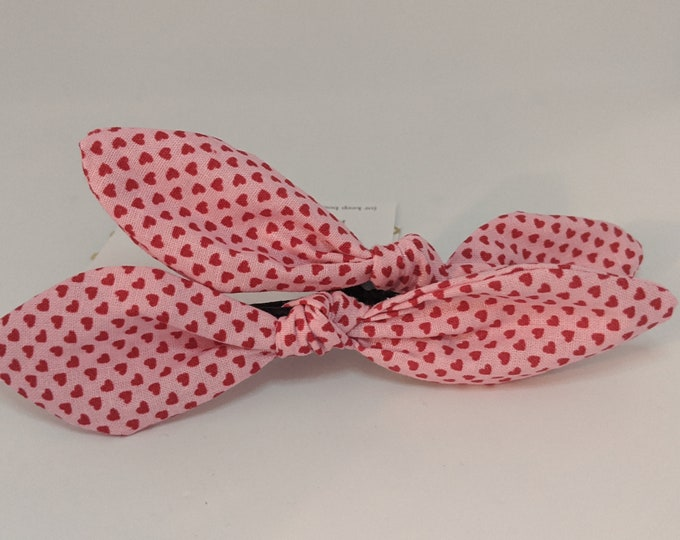 Valentine's Day Pair of Hair Ties -  Red and Pink Fabric - Valentine's Day Gift - Gift for Her - Best Friend Gifts