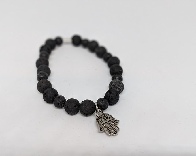 Black Lava Stone Stretch Bracelet with Hamsa Charm - Great Gift for Yogi - Grounding Stone Bracelet- Jewelry Gifts