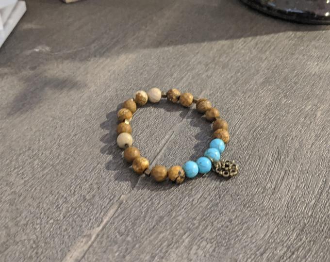 Jasper and Turquoise Beaded Stretch Bracelet - Brown Jasper - Handmade Accessory - Jewelry for Women - Gift for Yogi - Gift for Her