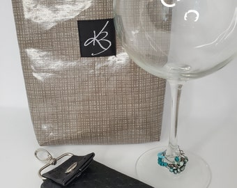 BFF BUNDLE - Gray - Small Travel Caddy,  Key Chain Card Case and Cocktail Glass Charm Set