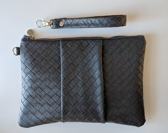 Textured Faux Leather Wristlet for Women - Gift Accessory for Working Women - Versatile Gift for Mom on the Go - One of a Kind Gift for Her