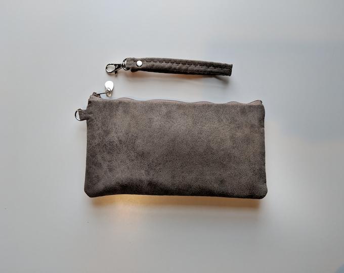 Faux Suede Wristlet for Women - Light Brown Wristlet Bag- Gift for Women  - Women's Handbag- Everyday Bag - Handmade Accessories