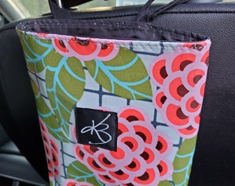 Small Car Caddy, Tropical Floral Laminated Cotton Fabric, Car Organizer, Travel Car Accessories for Women
