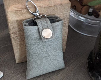 Key Chain Card Case, Key Chain Accessory, Credit Card Case, Handmade Accessory Gray/Beige Faux Leather