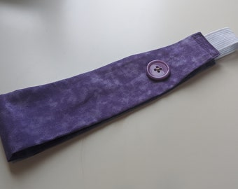 Child Size Headband with Buttons -  Wisteria Purple - Headband for Masks - Ear Saver - Washable - Handmade Accessories