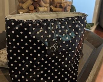 Car Caddy - Navy Blue and White Polka Dot - Car Organizer -  Gift Idea for Women - Travel Gift - Handmade Accessory - Birthday Present
