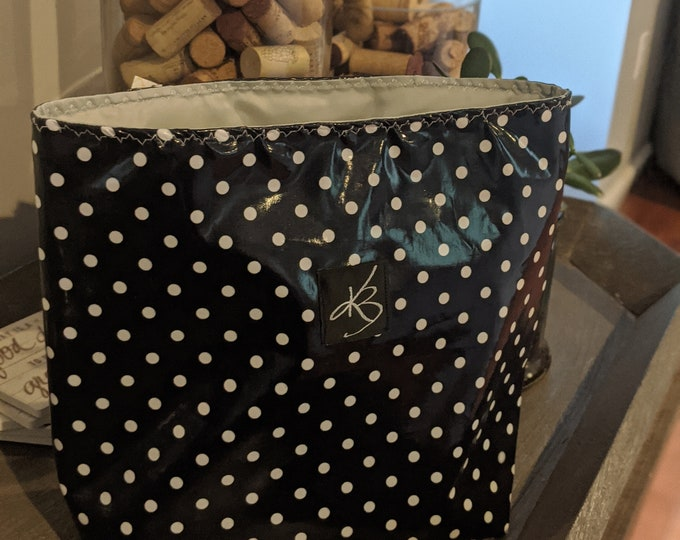 Car Caddy - Navy Blue and White Polka Dot - Car Organizer -  Gift Idea for Women - Travel Gift - Handmade Accessory - Birthday Present