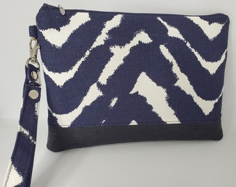 Vegan Leather and Cotton Wristlet for Women, Blue and White Cotton with Navy Blue Faux Leather, Handmade Handbag Shop