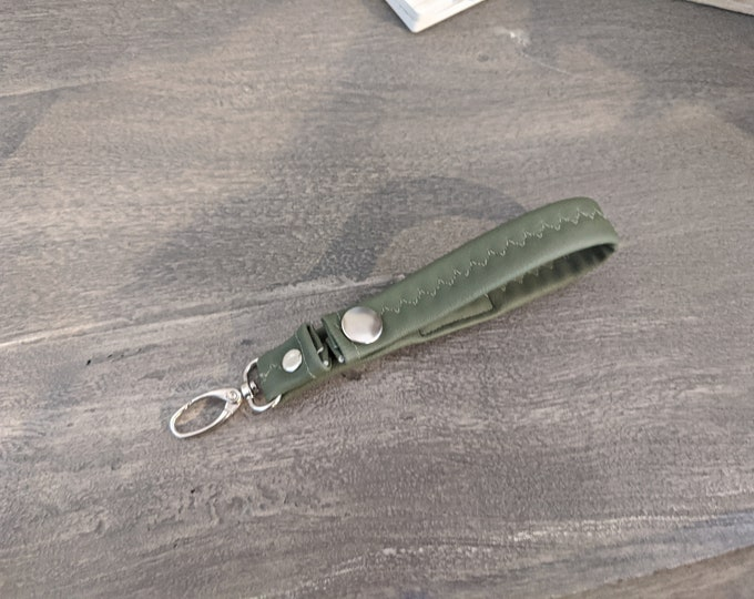 Olive Green Faux Leather Key Chain - Travel Accessory - Gift for Her - Gift for Graduate - Handmade Accessory