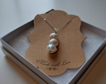 Necklace with Sterling Silver Chain and Fresh Water Pearl -Gift for Wife -Great Birthday Gift Idea for a Girlfriend -Bridesmaid Wedding Gift