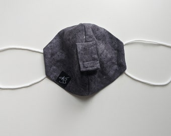 Cocktail Mask - Size Small/Medium - Black/Gray Fabric - Fun Gift - Reusable Mask - Washable