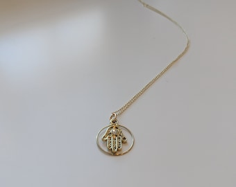 Hamsa Necklace, Gold Necklace for Women,  Yoga Jewelry, Great Gift Ide,  Birthday Presen,  Gift for Her, Jewelry Gifts