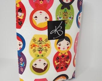 Small Car Caddy, Russian Doll Print Laminated Cotton Fabric, Car Organizer, Travel Car Accessories for Women