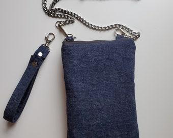 Denim Fabric Cell Phone Crossbody Bag - Birthday Present - Handmade Crossbody Bag - Gift for Her - Handbag Shop