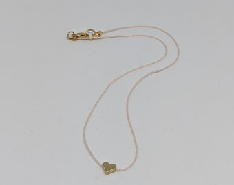 Pink Silk Cord Necklace with Tiny Gold Heart Bead - Birthday Present for Women - Simple Jewelry - Handmade Accessories for Girls
