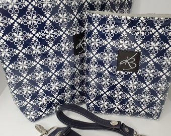 TRAVEL PACK - Navy Blue and White  - Regular Size Travel Caddy, Matching Small Caddy and Key Chain and Matching Key Chain Card Case