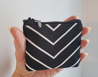 Small Pouch , Black and White Chevron Cotton Fabric, Handmade Bag, Change Purse