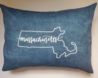 Alabama through Montana - Teal Blue Your State/Zip Code Pillow -  Home Decor Pillow - Indoor/Outdoor Pillow