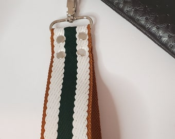 """Wristlet Handle,  Hunter Green, Natural and White Striped Webbing - 1.5"""" Swivel Hook, Travel Key Chain, Choose from Silver or Gold Hardware"""