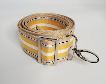 """Adjustable Bag Strap, Yellow, Natural and Black Striped, 1.5"""" Cotton Crossbody Purse Strap29"""" - 51"""" Length/Camera Strap/Adjustable Length"""