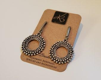 Round Beaded Design Dangle Earrings