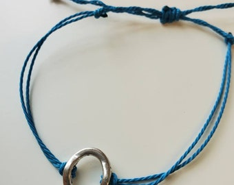 Teal Blue Adjustable Wax String Bracelet with Silver Oval Charm