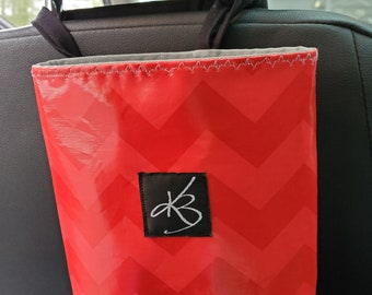 Small Travel Caddy, Red Chevron Laminated Cotton Fabric, Car Organizer, Travel Car Accessories for Women