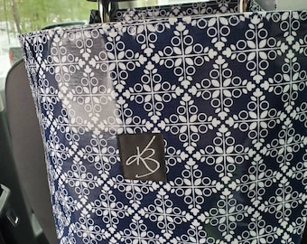 Large Travel Caddy, Navy and White Laminated Cotton Fabric, Car Organizer, Travel Car Accessories for Women