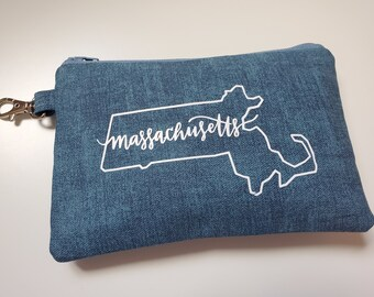 Alabama through Montana , Teal Blue Your State/Zip Key Chain Pouch,  Choose your Zip Code, Indoor/Outdoor Fabric