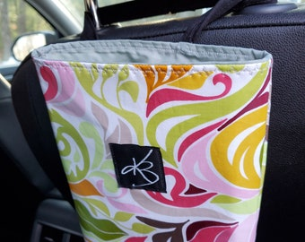 Small Travel Caddy, Wild Flower Laminated Cotton Fabric, Car Organizer, Travel Car Accessories for Women