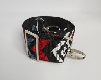"Adjustable Bag Strap, Black, Red, White, Blue Chevron Print, 1.5"" Cotton Crossbody Purse Strap 29"" - 51"" Length/Camera Strap"